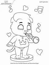 Coloring Flute Playing Printable sketch template