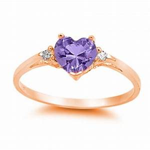 heart ring heart purple amethyst round clear cz rose gold With purple wedding ring