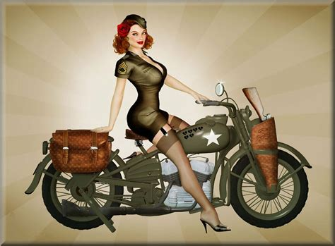 Vintage 40s Harley Davidson Army Ww2 Motorcycle Pinup Girl