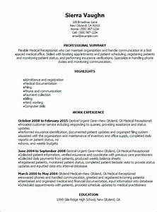 Career Objectives For Customer Service Professional Medical Receptionist Resume Templates To