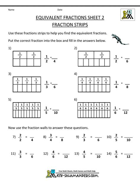 fraction math worksheets equivalent fractions 2 fraction