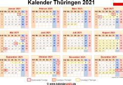 Übersicht & infos zu den feiertagen in deutschland 2021: Kalender 2021 Thüringen: Ferien, Feiertage, PDF-Vorlagen
