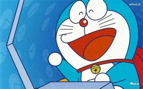 Doraemon Laughing With Blue Background Wallpaper