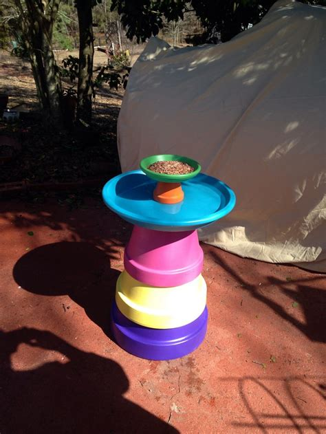 diy terra cotta flower pot bird bath home design garden