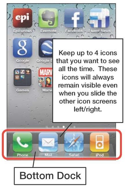moving icons to the bottom dock them iphone 4