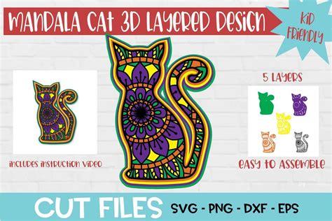 Adjust the size if needed. Mandala Cat 3D Layered SVG Design