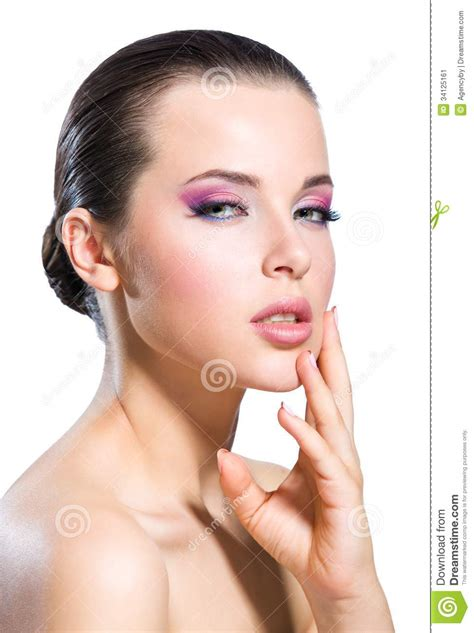 Touching Face Naked Girl With Bright Pink Make Up Stock