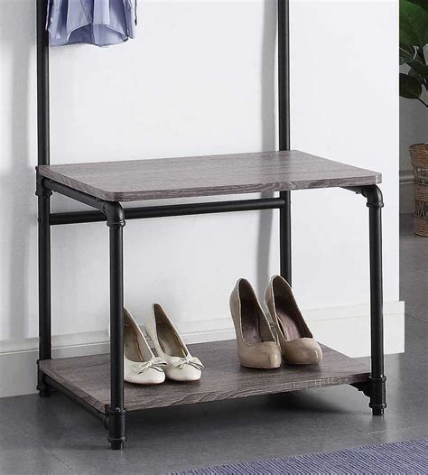 Foyer Coat Rack by Pipe Style Foyer Bench And Coat Rack In Entryway Storage