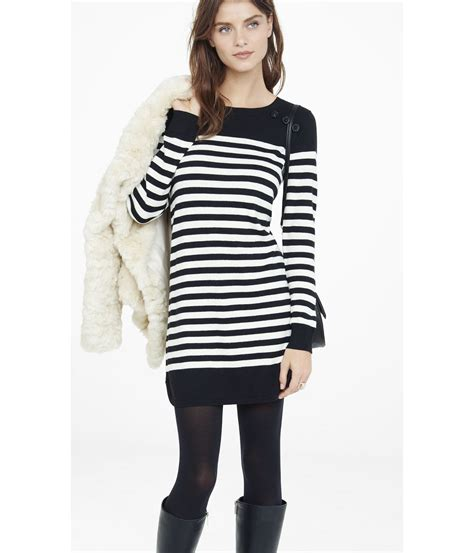 black and white striped sweater express black and white striped sweater dress in black lyst