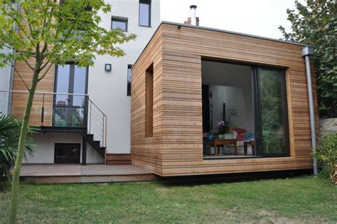 agrandissement cuisine sur terrasse l extension posée sur la terrasse en ipé sans lien avec