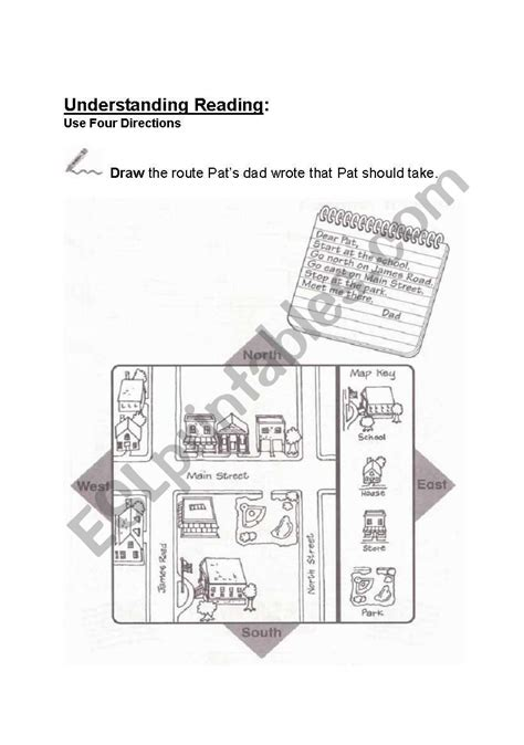 street directions north south east west esl worksheet  linabean
