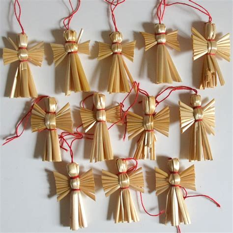vintage angel christmas straw ornaments set by