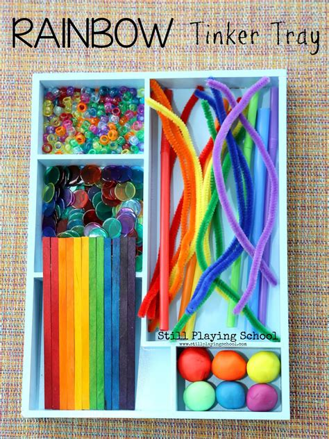rainbow tinker tray  playing school