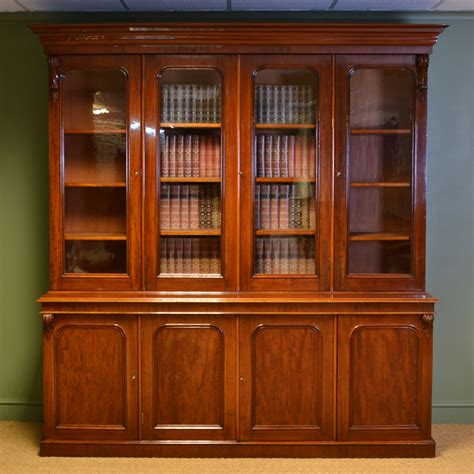 Bookcase Vintage by Spectacular Figured Mahogany Large Antique