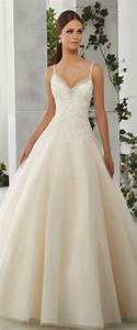charming tulle satin spaghetti straps neckline a line With wedding dress straps