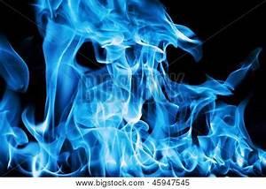 Blue Fire On Black Background Image & Photo | Bigstock