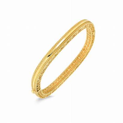 Edges Slim Bangle Braided Coin Gold Roberto