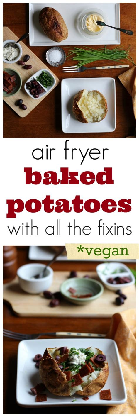 fryer air baked potato cooking recipe cadryskitchen recipes peel vegan fixins potatoes russet pillowy crisp ready delivers perfectly interior cooked