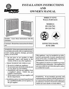 Wall Furnace  Empire Wall Furnace Manual