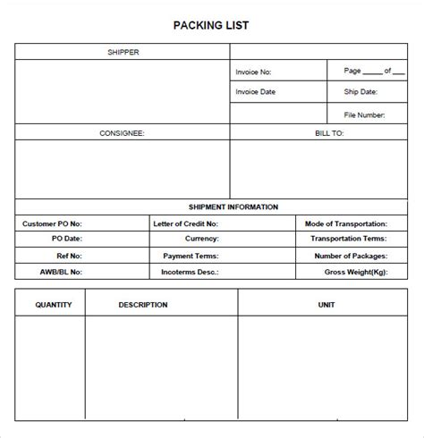 packing list templates  samples examples