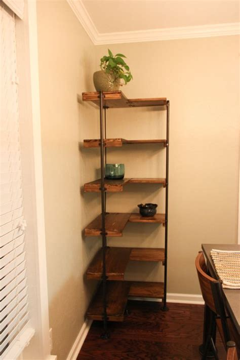 making  rustic industrial  standing corner shelf set