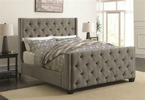 tufted headboard footboard palma grey fabric demi wing size bed w button