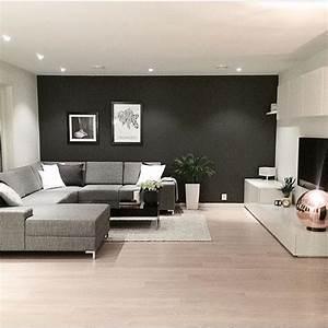Dco Salon Un Mur Noir Pour Le Salon Dco