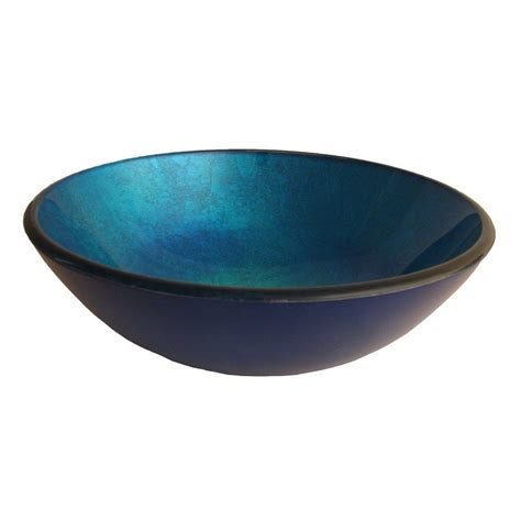 blue glass vessel sinks for bathrooms shop novatto verdazzurro blue tempered glass vessel round