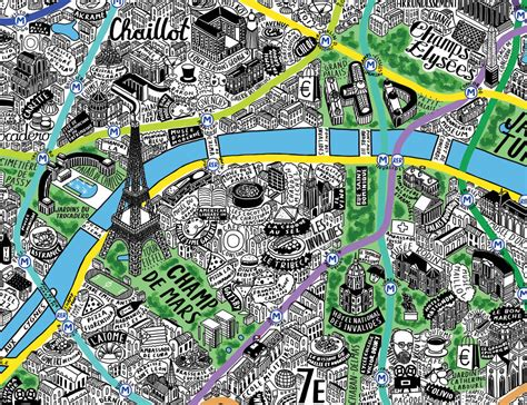 hand drawn paris map  jenni sparks stampede curated