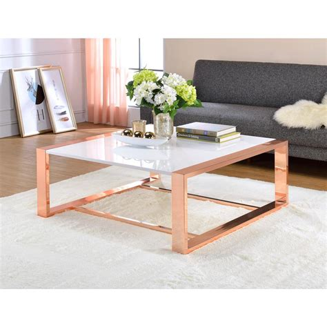 rose gold table l acme furniture porviche white high gloss and rose gold