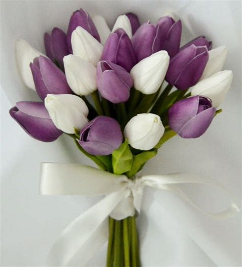 silk wedding bouquet latex purple white tulips posy