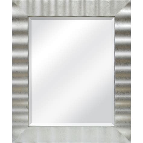 silver bathroom mirror lowes shop allen roth 30 in x 36 in silver leaf beveled