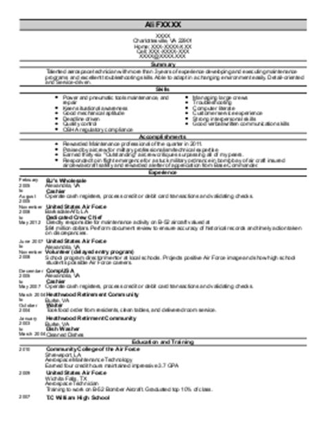 sheet metal mechanic resume exle st aerospace
