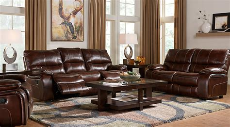 cindy crawford home gianna brown leather  pc living room