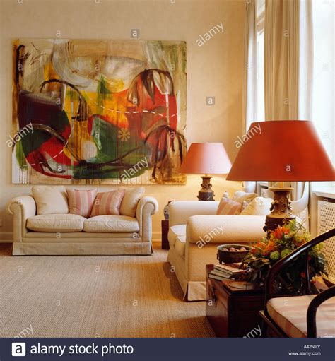 Sofa Paintings by Large Abstract Painting Above Sofa In Upmarket