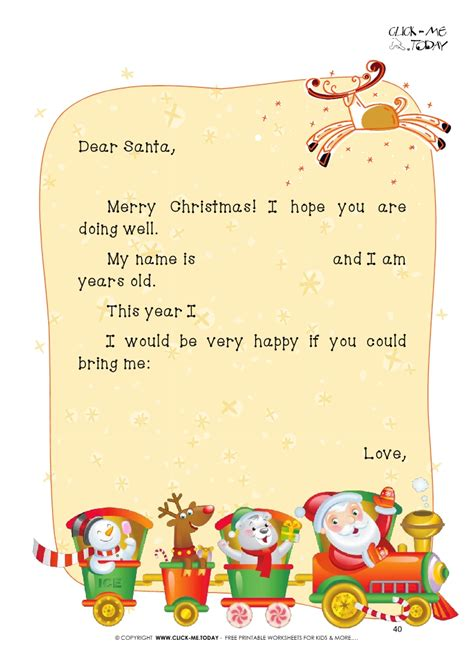 printable dear santa claus sample text letter