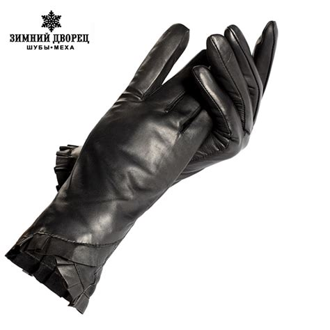 genuine leather mittens black leather gloves genuine leather cotton lining
