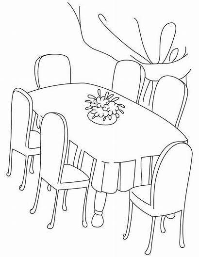 Coloring Table Dining Pages Dinning Chair Drawing