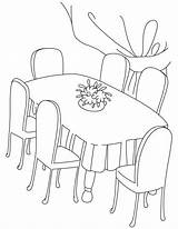 Coloring Table Dining Dinning Chair Drawing Six Periodic Printable Coffee Sheets Tea Para Colorear Desenho Desenhos Dibujos Tables Cp sketch template