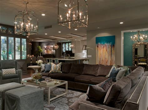 Teal And Brown living room contemporary with frosted glass