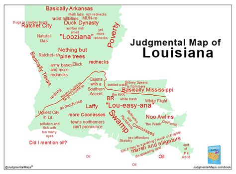 judgmental map  louisiana highlighting la stereotypes