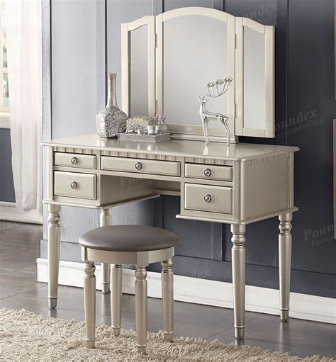 see through makeup desk christine silver makeup dressing table set with mirror
