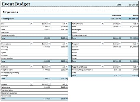 event budget templates ms office documents