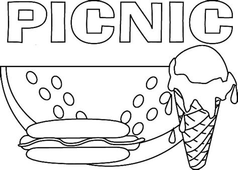 picnic coloring pages delicious food for picnic coloring page netart