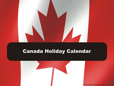 canada holiday calendar