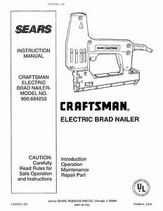 Craftsman 900684253 User Manual Electric Brad Nailer