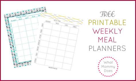 printable weekly meal planning templates   week
