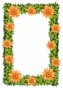 Frame design with orange flowers Vector | Free Download