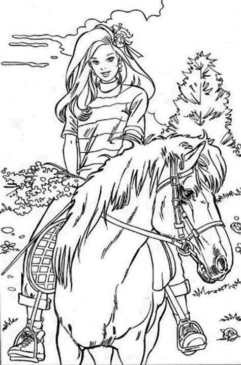 barbie doll riding horse coloring page adolt colouring