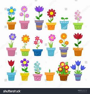 Flowers In Pots - Clip Art Stock Vector 263437190